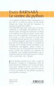 Le ventre du python - 4ème de couverture - Format classique