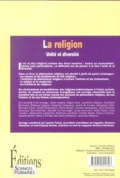 La religion ; unité et diversité - 4ème de couverture - Format classique