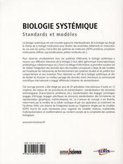 Biologie systémique ; standards et modèles - 4ème de couverture - Format classique