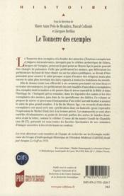 Le tonnerre des exemples ; exempla et médiation culturelle dans l'Occident médiéval - 4ème de couverture - Format classique