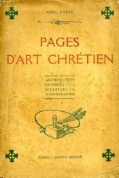 Pages D'Art Chretien, Etudes D'Architecture, De Peinture, De Sculpture Et D'Iconographie - Couverture - Format classique