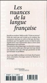 Les nuances : richesse, subtilité, et charme de la langue française - 4ème de couverture - Format classique
