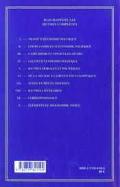 Oeuvres Economiques Completes T.5 ; Oeuvres Morales Et Politiques - 4ème de couverture - Format classique
