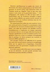 La Grammaire Latine De L'Etudiant Fiches Pratiques De Syntaxe - 4ème de couverture - Format classique