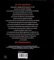 Je Me Souviens De Montmartre - 4ème de couverture - Format classique