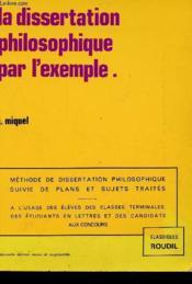 Dissertation Philosophique Par L'Exemple - Couverture - Format classique