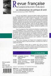 Revue Francaise Administration Publique N.113 ; Les Métamorphoses Des Politiques De Santé - 4ème de couverture - Format classique