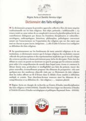 Dictionnaire des faits religieux - 4ème de couverture - Format classique