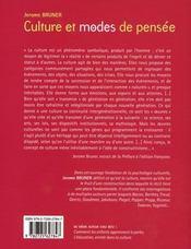 Culture et modes de pensée ; l'esprit humain dans ses oeuvres - 4ème de couverture - Format classique