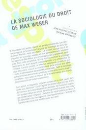 La sociologie du droit de Max Weber - 4ème de couverture - Format classique
