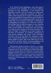 La religion de l'état ; la construction de la république étatique dans le discours théologique de l'occident médiéval (1250-1350) - 4ème de couverture - Format classique