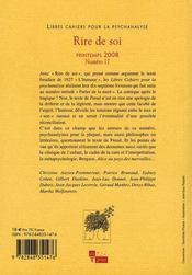 LIBRES CAHIERS POUR LA PSYCHANALYSE T.17 ; rire de soi - 4ème de couverture - Format classique