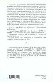 Economie Geographique ; Les Theories A L'Epreuve Des Faits - 4ème de couverture - Format classique