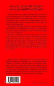 Vers La Nouvelle Pensee - 4ème de couverture - Format classique