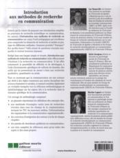 Introduction aux méthodes de recherche en communication - 4ème de couverture - Format classique