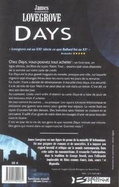 Days - 4ème de couverture - Format classique