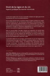 Droit de la vigne et du vin ; aspects juridiques du marché vitivinicole (2e édition) - 4ème de couverture - Format classique