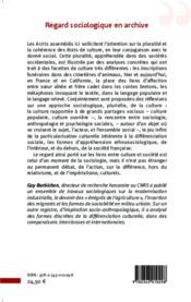 Regard sociologique en archives cultures - 4ème de couverture - Format classique