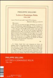 Lettres à Dominique Rolin (1958-1980) - 4ème de couverture - Format classique