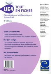 PACES UE4 tout en fiches ; mathématiques, probabilités, biostatistiques - 4ème de couverture - Format classique