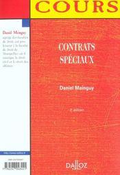 Contrats Speciaux ; 3e Edition - 4ème de couverture - Format classique