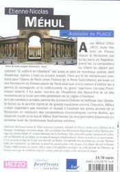 Etienne-Nicolas Mehul - 4ème de couverture - Format classique