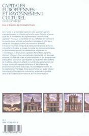 Capitales européennes et rayonnement culturel ; XVIII-XX siècle - 4ème de couverture - Format classique