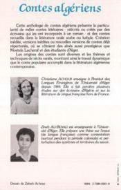Contes algériens - 4ème de couverture - Format classique