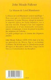 Le Blason De Lord Blandamer - 4ème de couverture - Format classique