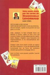 Votre Avenir Revele Par Les Cartes De Mademoiselle Lenormand - 4ème de couverture - Format classique