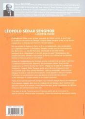 Léopold Sédar Senghor, lumière noire - 4ème de couverture - Format classique