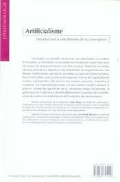 Artificialisme.Une Introduction A Une Theorie De La Conception - 4ème de couverture - Format classique