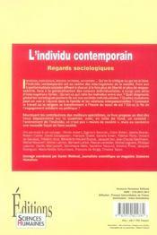 L'individu contemporain ; regards sociologiques - 4ème de couverture - Format classique
