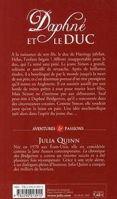 La chronique des Bridgerton T.1 ; Daphné et le duc - 4ème de couverture - Format classique