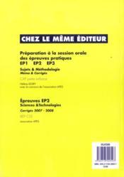 Epreuve ep2 sciences et technologies bep css - 4ème de couverture - Format classique