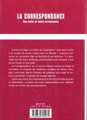 La Correspondance ; Bien Ecrire En Toute Circonstance - 4ème de couverture - Format classique