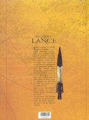 Le gardien de la lance t.2 ; initiation - 4ème de couverture - Format classique