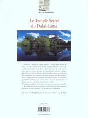 Le Temple Secret Du Dalai Lama - 4ème de couverture - Format classique