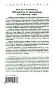Semantique Et Morphologie Du Verbe En Ciluba - 4ème de couverture - Format classique
