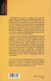 Introduction au mystère de l'église - 4ème de couverture - Format classique