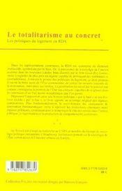 Le totalitarisme au concret ; les politiques du logement en rda - 4ème de couverture - Format classique