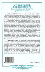 Anthropologie De L'Electricite - 4ème de couverture - Format classique