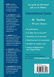 Prépa à l'oral d'anglais ; international issues - 4ème de couverture - Format classique