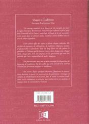 Usages et traditions - 4ème de couverture - Format classique