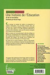 Une histoire de l'éducation et de la formation - 4ème de couverture - Format classique