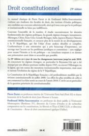 Droit constitutionnel ; à jour août 2010 (29e édition) - 4ème de couverture - Format classique