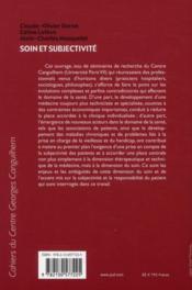 Soin et subjectivité - 4ème de couverture - Format classique