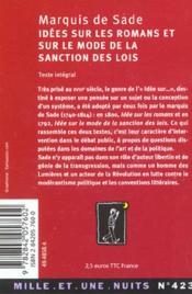 Sade polemiste - idees sur les romans et sur le mode de la sanction des lois - 4ème de couverture - Format classique