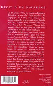 Recit D'Un Naufrage - 4ème de couverture - Format classique