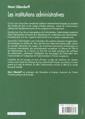 Les Institutions Administratives ; 3e Edition - 4ème de couverture - Format classique